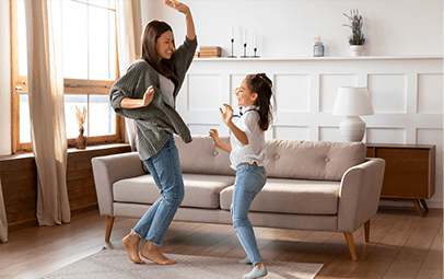 Mom and Daughter Dancing